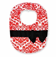 Mud Pie Red Damask Bib