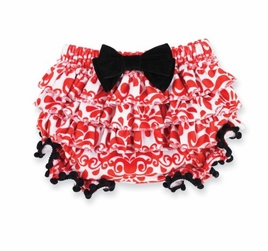 Mud Pie Red Red Damask Ruffle Bloomer