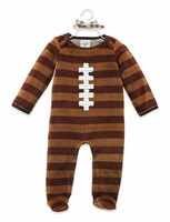 Mud Pie Velour Football Footie