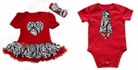 Newborn Baby Girl Red Damask Heart Bodysuit Pettiskirt and Baby Boy Tie Bodysuit Twins Set