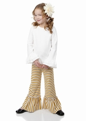 One Posh Kid Mustard Stripe Ruffle Set