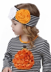 One Posh  Lil' Pumpkin Rosette Headband
