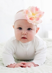 Pale Pink Soft Headband with Pale Pink Small Rose