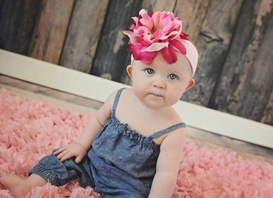 Pale Pink Soft Headband with Pink Raspberry Small Peony