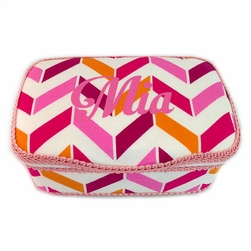 Personalized Pink and White Chevron Nursery Baby Wipes Case