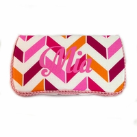 Personalized Pink, Orange and White Chevron Baby Wipes Case