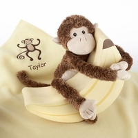 Personalized  Plush Monkey Magoo and Blankie Too in Keepsake Banana Gift Box