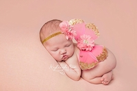 Pink Glitter Butterfly & Matching Headband Set - Photo Props