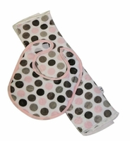 Pink & Grey Dot Bib & Burp Set