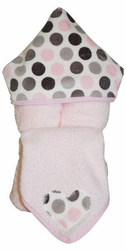 Pink & Grey Dot Hooded Towel on Pink