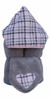 Pink Houndstooth Hooded Towel on Grey