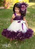 Plum Devine Girls Rosette Fluffy Dress
