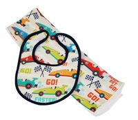 Race Car Bib & Burp Set