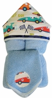 Race Cars Hooded Towel on Blue w/washcloth