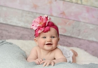 Raspberry Soft Headband with Pink Raspberry Small Peony