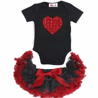 Red and Black Heart Rosette Pettiskirt Set With Bow - Valentines Day Baby Girl Clothes