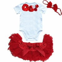 Red and White Newborn Pettiskirt Set - Holiday Baby Clothes