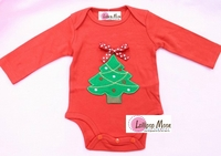 Red Long Sleeves Onesie Polka Dots Bow Christmas Tree