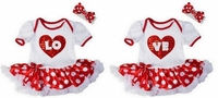 Red Polka Baby Girls Twin Pettiskirt Set With Bow