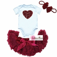 Red Rosette Heart Newborn Baby Pettiskirt Set With Bow