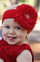 Red Soft Headband with Red Lace Rose