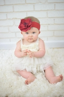 Red Soft Headband with Red Small Rose