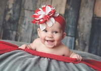 Red Soft Headband with Red White Small Peony