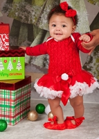 Red & White Rosette Holiday Tutu Set - Bow and Shoes Included