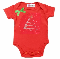 Rhinestone Christmas Tree Red Short Sleeves Bodysuit