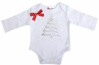 Rhinestone Christmas Tree White Long Sleeves Bodysuit