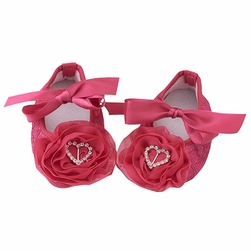 Rhinestone Heart Rosette Baby Shoes