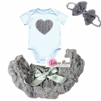 Silver Rosette Heart Petti Skirt Set With Bow - Newborn Baby Girl Tutu Set