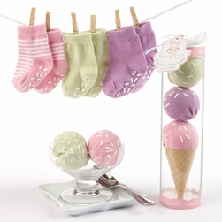 "Sweet Feet"" Three Scoops of Socks Gift Set (Pink)"