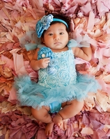 Sweet Heart Rose Aqua Blossom Tutu & Headband