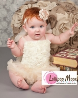 Sweet Heart Rose  Baby Cream Rosettes Blossom Tutu Bodysuit