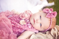 Sweet Heart Rose Dusty Pink Bodysuit Tutu and Headband