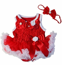 Sweet Heart Rose Holiday Crystal Rosettes Red White Bodysuit Pettiskirt and Headband