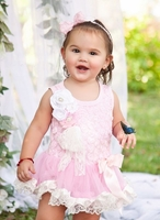 Sweet Heart Rose Light Pink White Lace Bodysuit Tutu and Headband