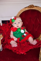 Sweet Heart Rose Rosettes Green Red Bodysuit Tutu and Headband