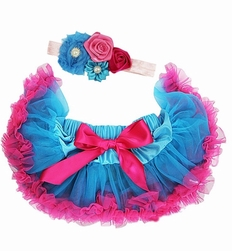 Sweetheart Rose Blue and Hot Pink Tutu Set