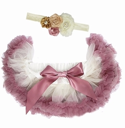 Sweetheart Rose Dusty Rose and Cream Infant Tutu Set