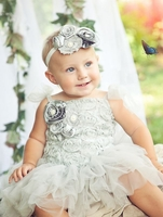 Sweetheart Rose Silver Blossom Tutu Dress and Headband