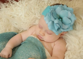 Teal Soft Headband with Teal Small Rose