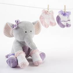 """Tootsie in Footsies"""" Plush Elephant and Socks for Baby"""