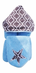Trellis Hooded Towel on Blue