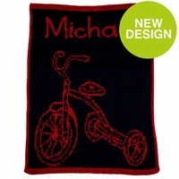 Tricycle & Name Baby Blanket