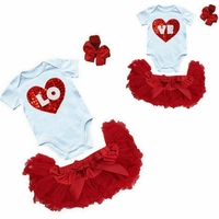 Valentines Day Twin Girls Petti Skirt Set