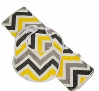 Yellow & Grey Chevron Bib & Burp Set