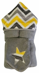 Yellow & Grey Chevron Hooded Towel on Grey w/washcloth