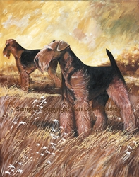 "Airedale Terrier ""Field Pair""  Limited Edition Print"